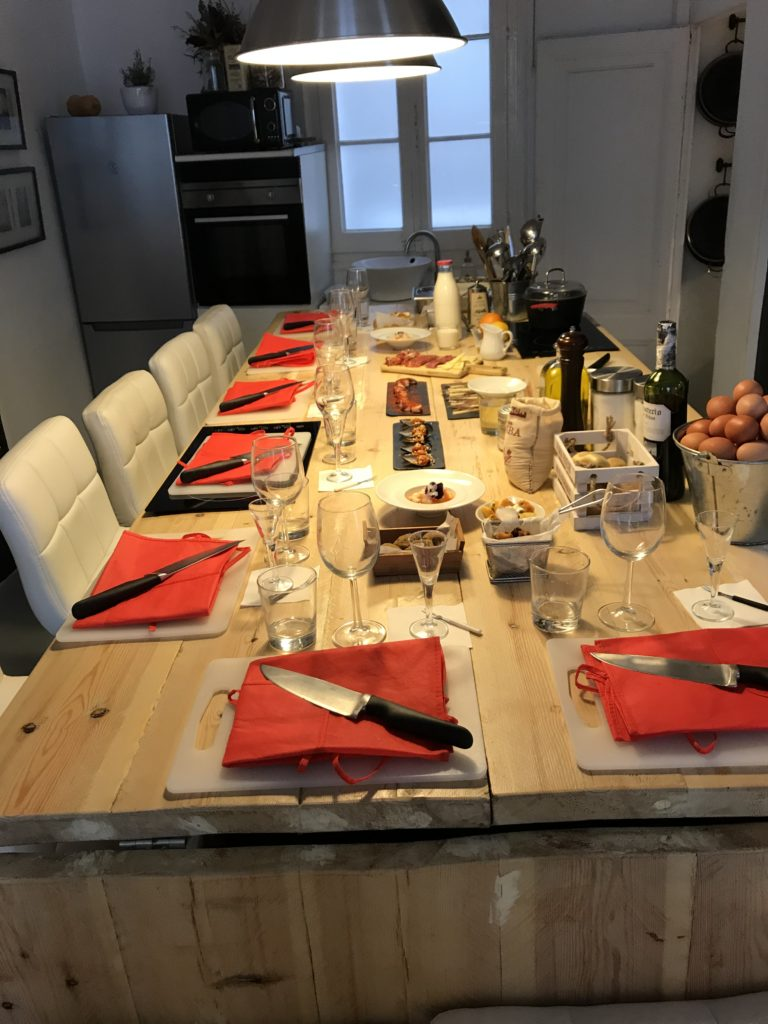 Set table at Just Royal Bcn paella cooking class in Barcelona