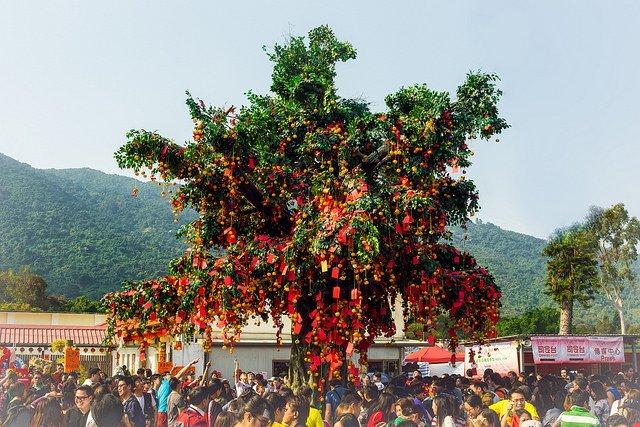 Lam Tsuen wishing tree in Hong Kong outside of Tin Hau Temple in Fong Ma Po Village