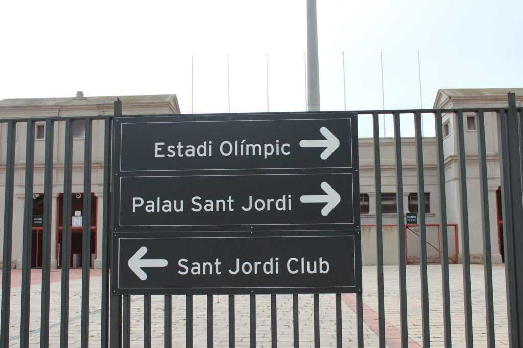 Entrance sign to Estadi Olimpic and Paulau Sant Jordi in Barcelona