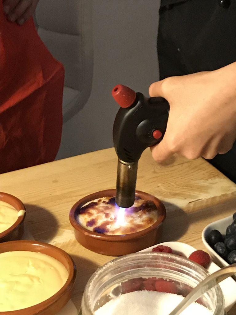 Catalan Crema aka catalan cream being torched