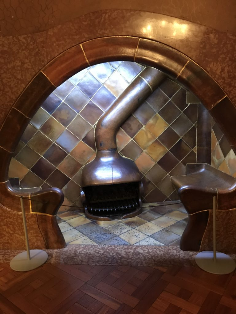 Mushroom fireplace at Casa Batlló
