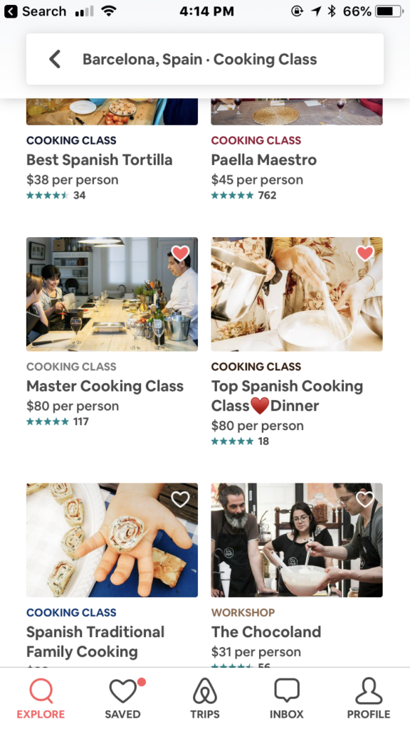Airbnb Experiences Cooking Classes in Barcelona on iPhone app
