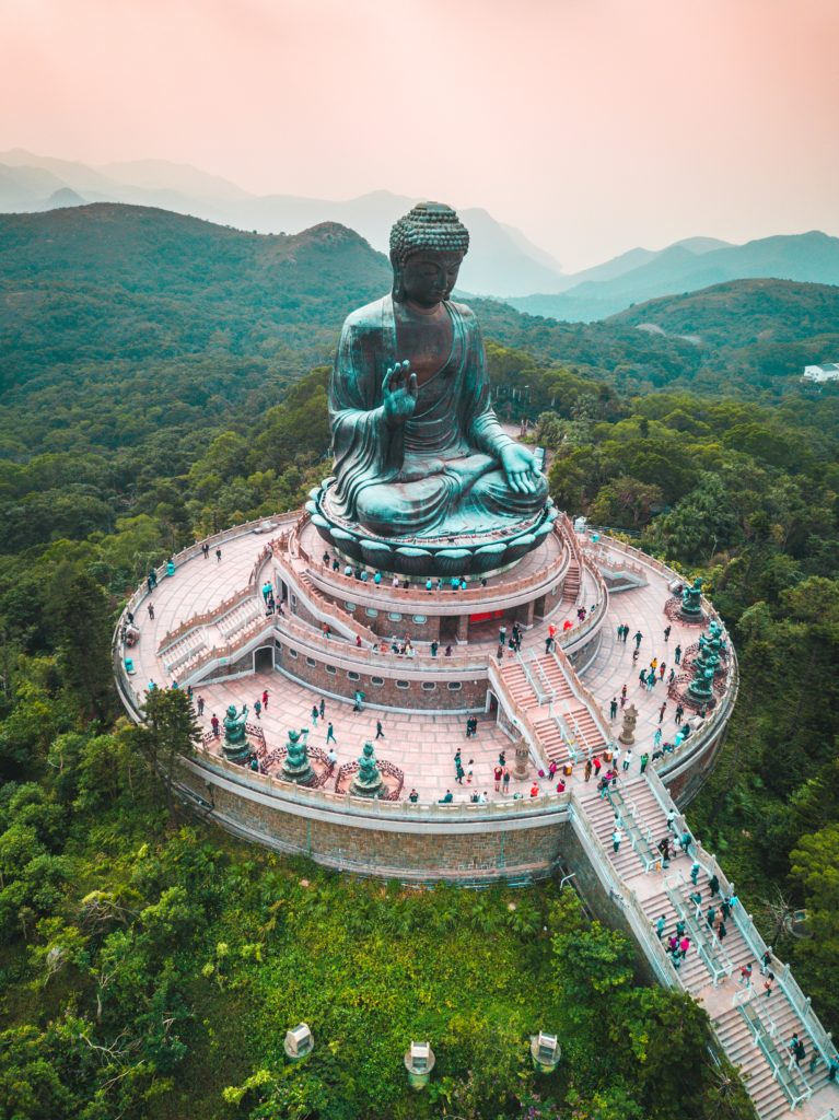 Tian Tan (Big) Buddha in Hong Kong aerial view of stairs and statue