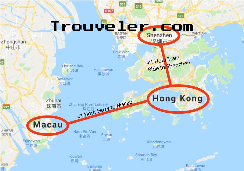 Day Trips Map from Hong Kong to Macau and Shenzhen-01