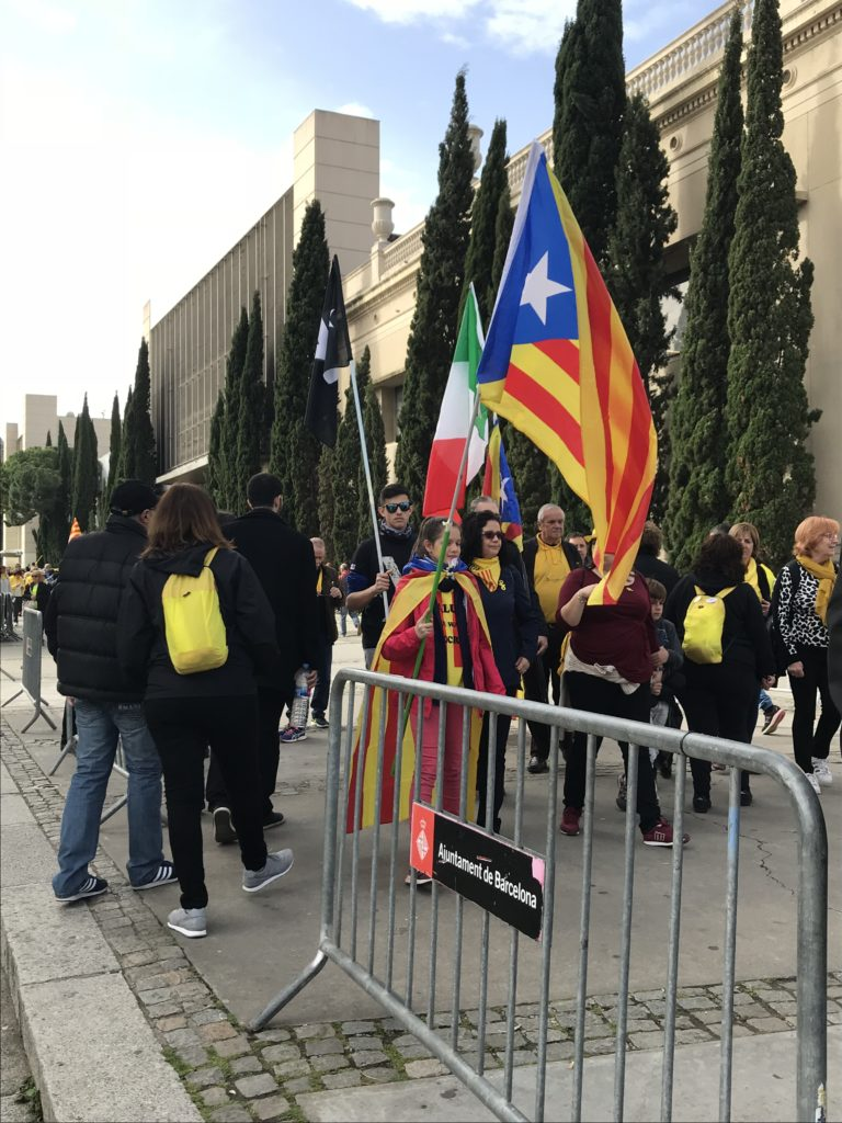 Calm Catalan Independence Protest in Barcelona 2018