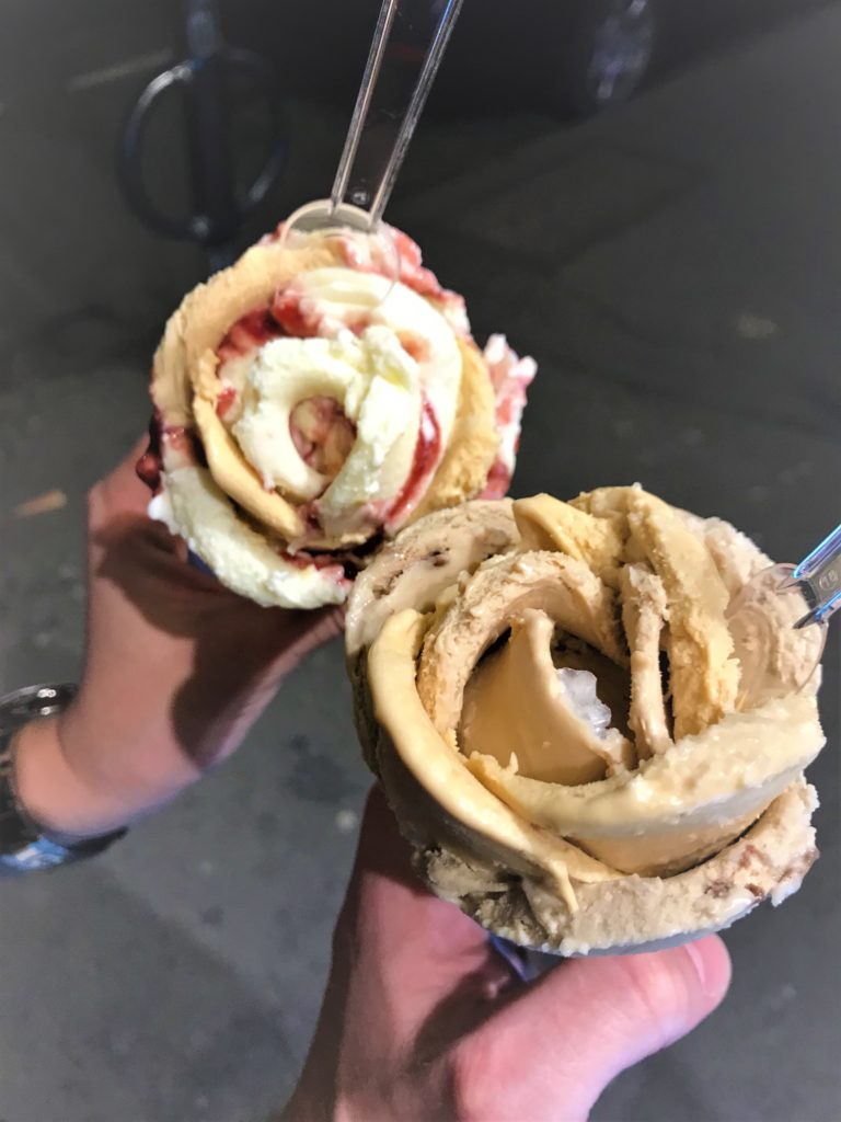 Rose flower gelato ice cream cones from amorino in London Covent Garden