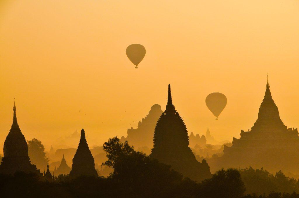 Old Bagan, Myanmar Burma) hot air balloons at golden hour