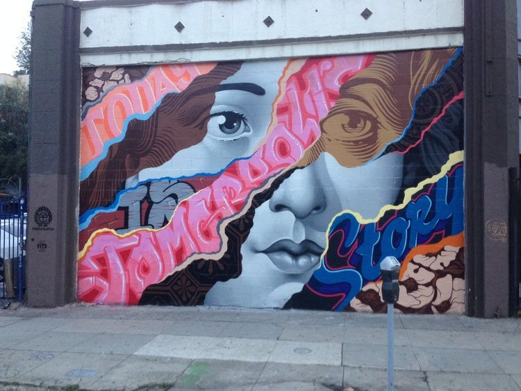 Today is Tomorrow's Story street art wall mural in Los Angeles by Tristan Eaton