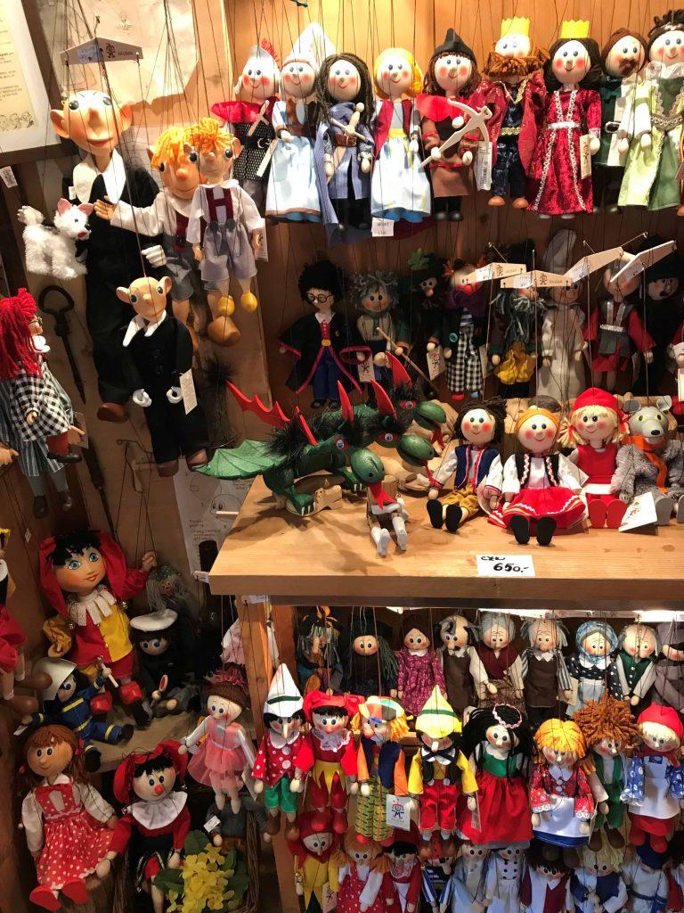 Prague puppet shop full of marionettes