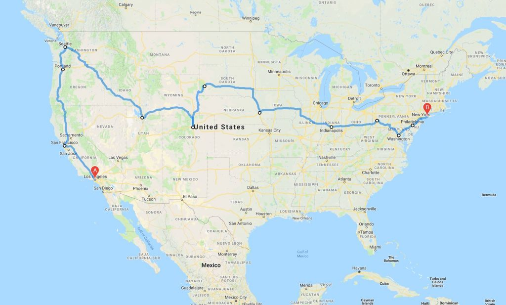 My working planned cross country road trip route from Los Angeles to New York