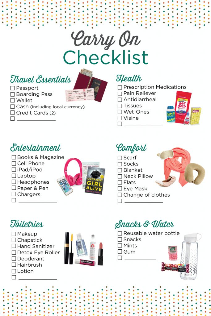 Checklist of items to bring for your carryon for long and short flights