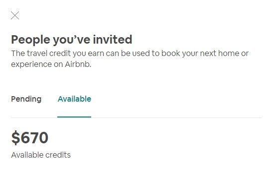 Airbnb travel credits earned after sharing my promo code